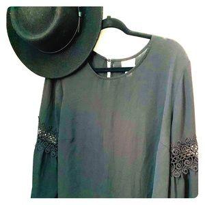 Dress, black, somewhat sheer blouse/Size 1X